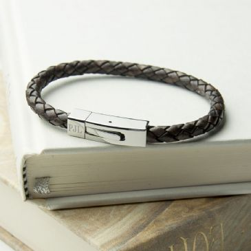 Personalised Men's Leather Bracelet With Tube Clasp